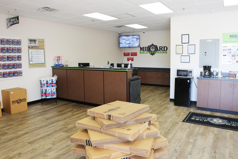 Leasing office at Midgard Self Storage in Greenville, South Carolina