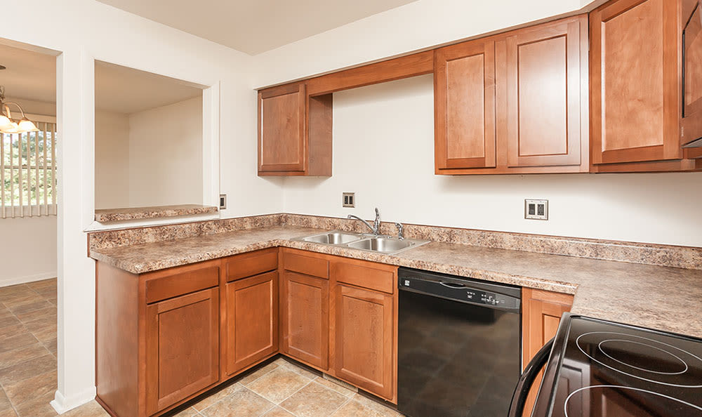 Beautiful kitchen at CenterPointe Apartments and Townhomes in Canandaigua, New York