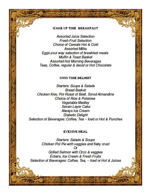 View or print our delicious sample menu at Savannah Court of the Palm Beaches