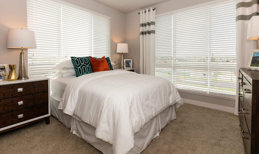 Bedroom at Strata Apartments in Denver, Colorado