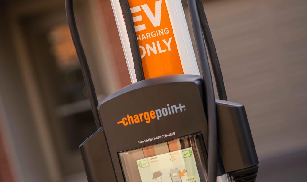 Charging station at Strata Apartments in Denver, Colorado