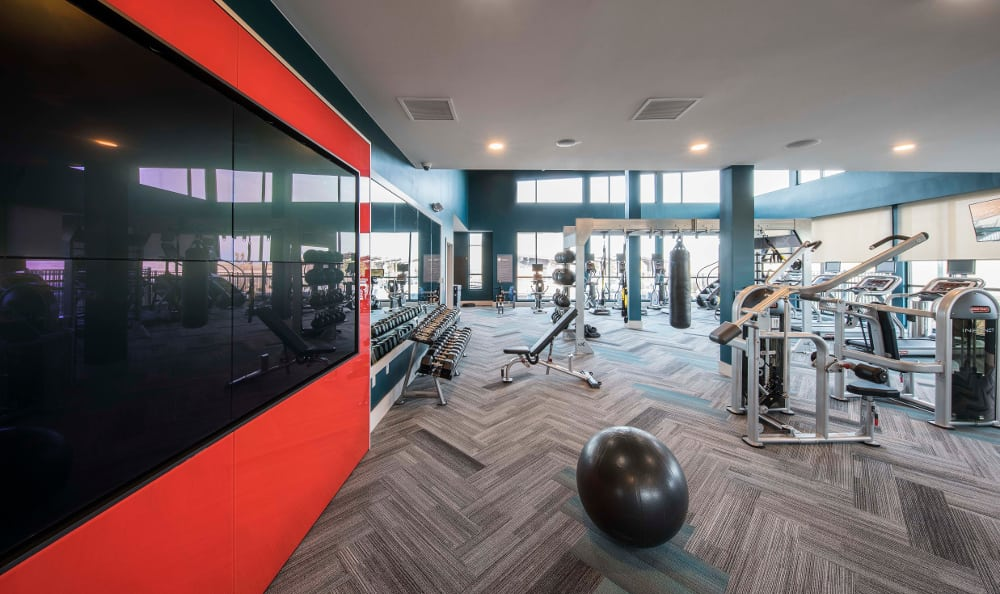 Modern fitness center at Strata Apartments in Denver, Colorado