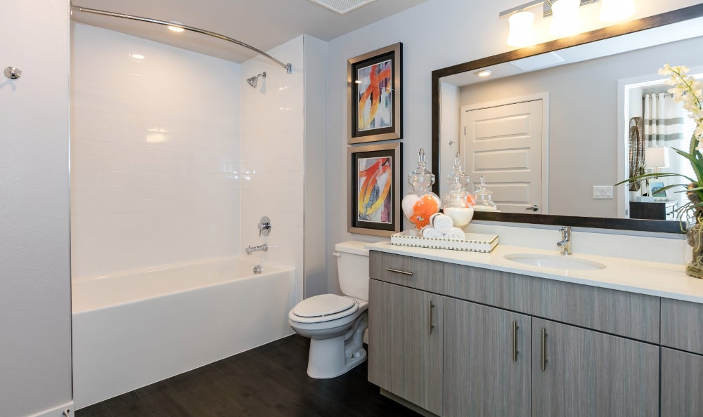 Bathroom at Strata Apartments in Denver, Colorado