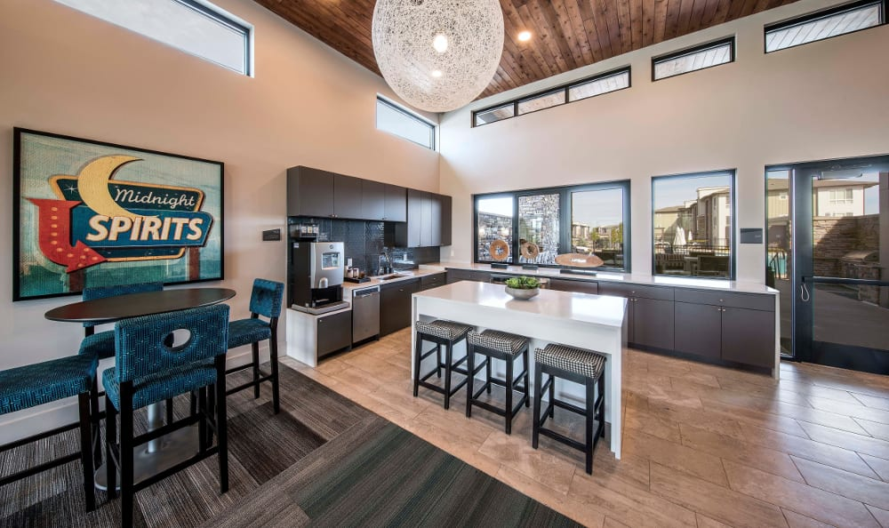 Communal kitchen area at Strata Apartments