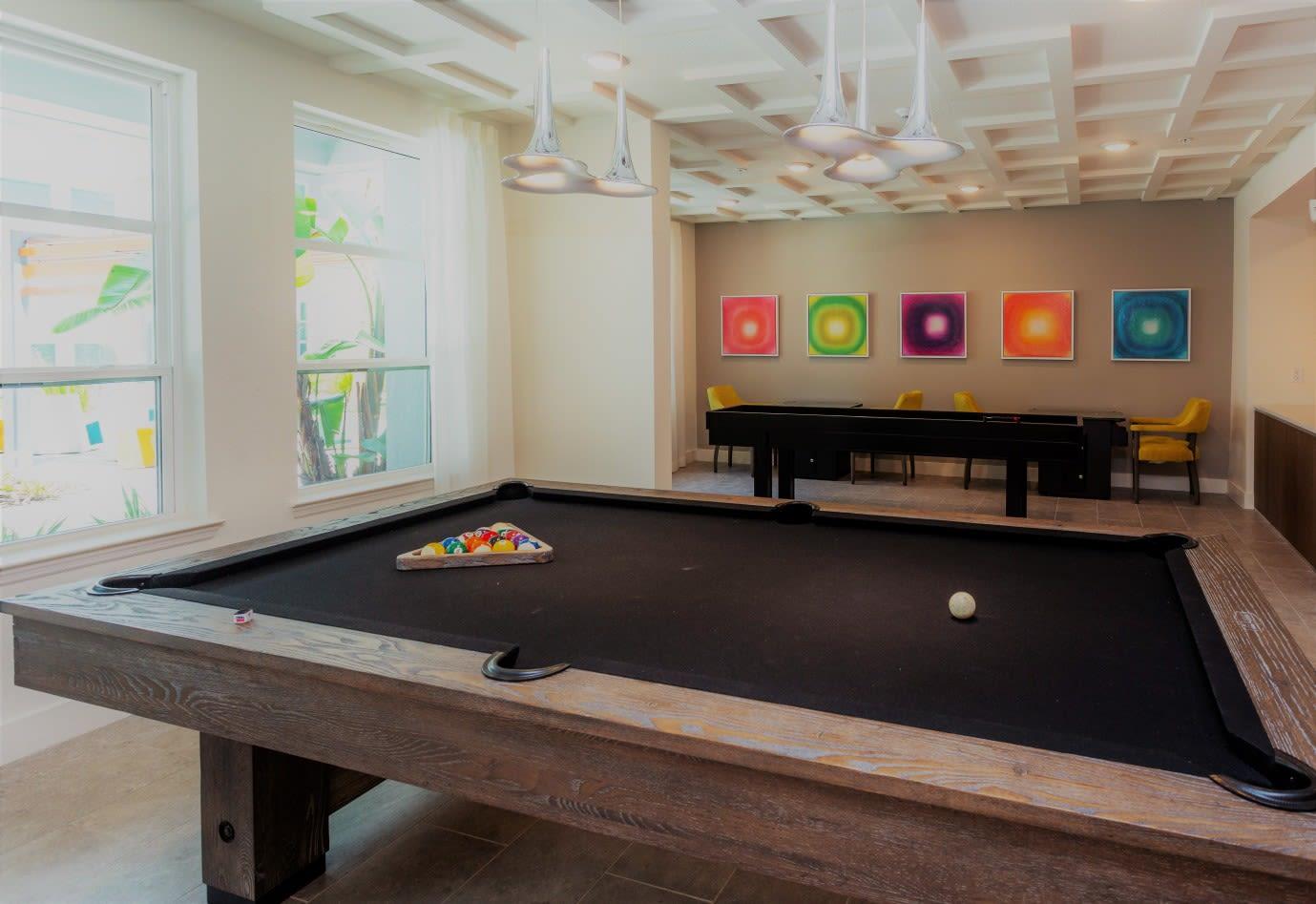Billiards at 50 Paramount Apartments in Tampa Florida