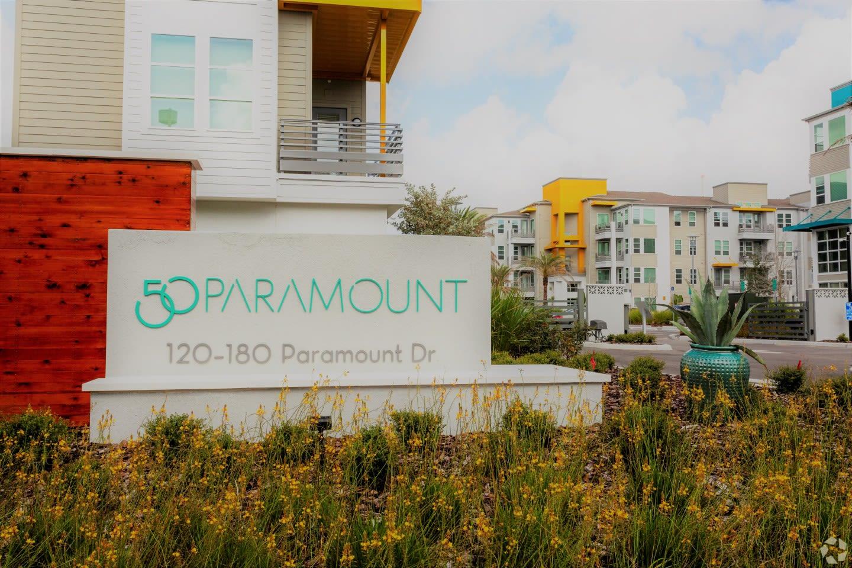Signage at 50 Paramount Apartments in Tampa Florida