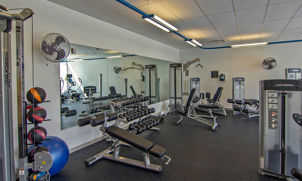 fitness center at Tower280 in Rochester, NY