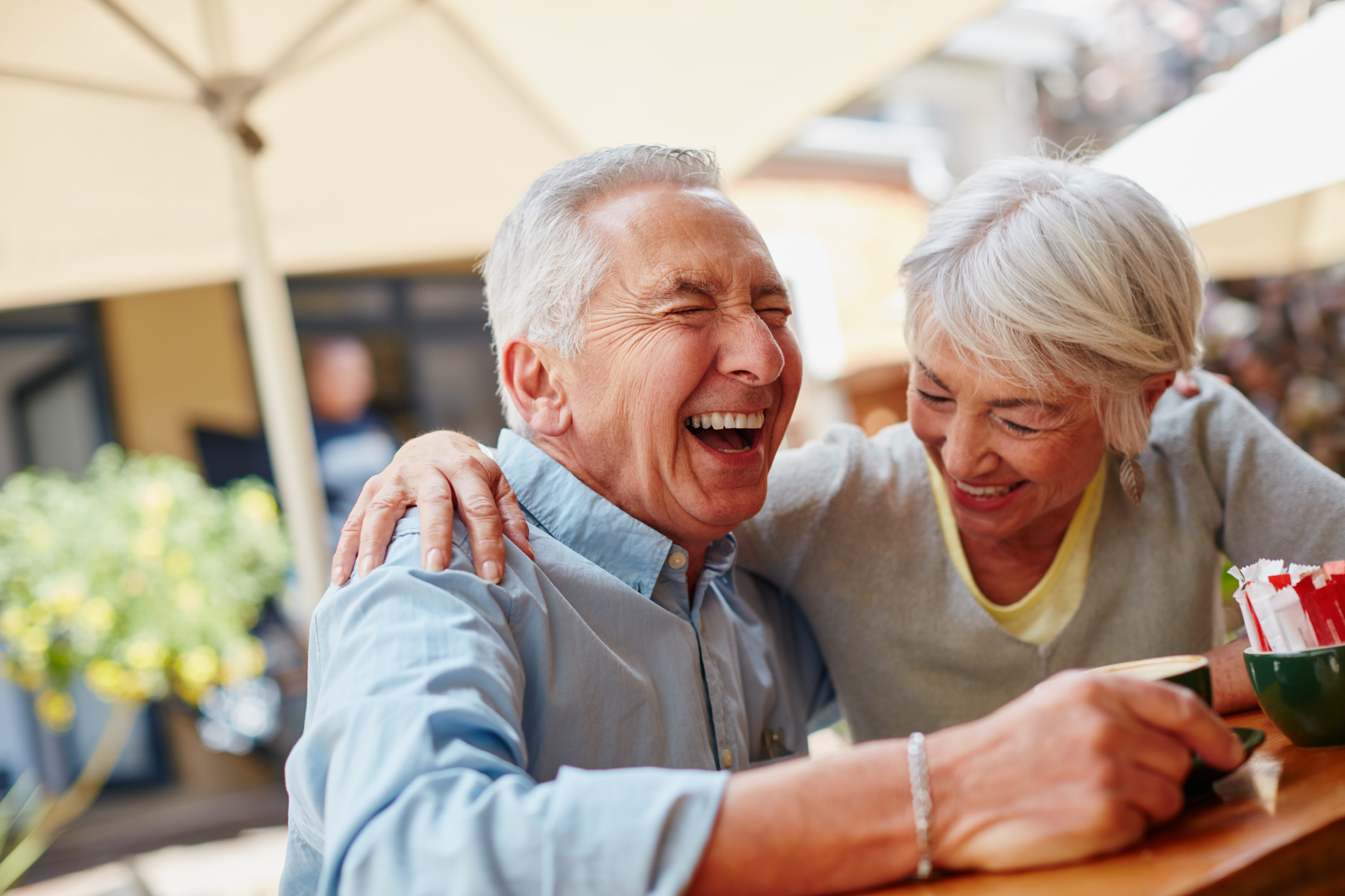 Seniors laughing at McDowell Village in Scottsdale, Arizona