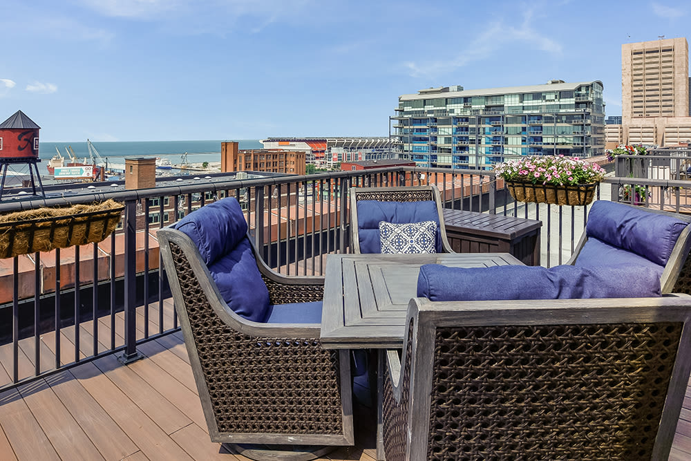 Beautiful rooftop lounge at apartments in Cleveland, Ohio