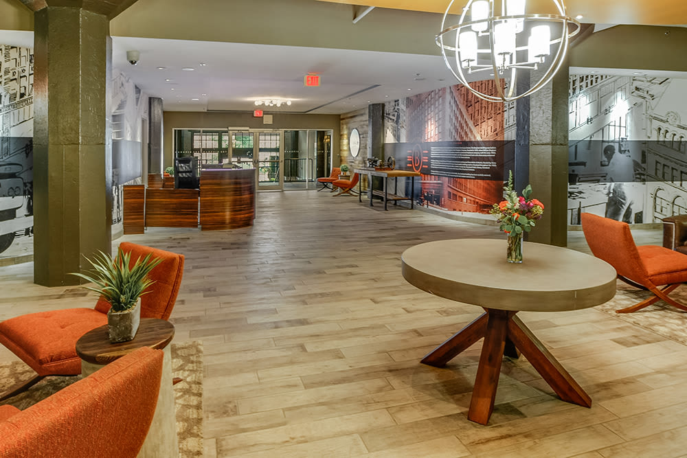 Luxury lobby at apartments in Cleveland, Ohio