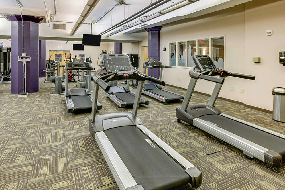 Modern fitness center at apartments in Cleveland, Ohio