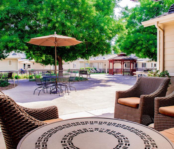 Beautiful garden furniture at Pacifica Senior Living Vacaville in Vacaville, California