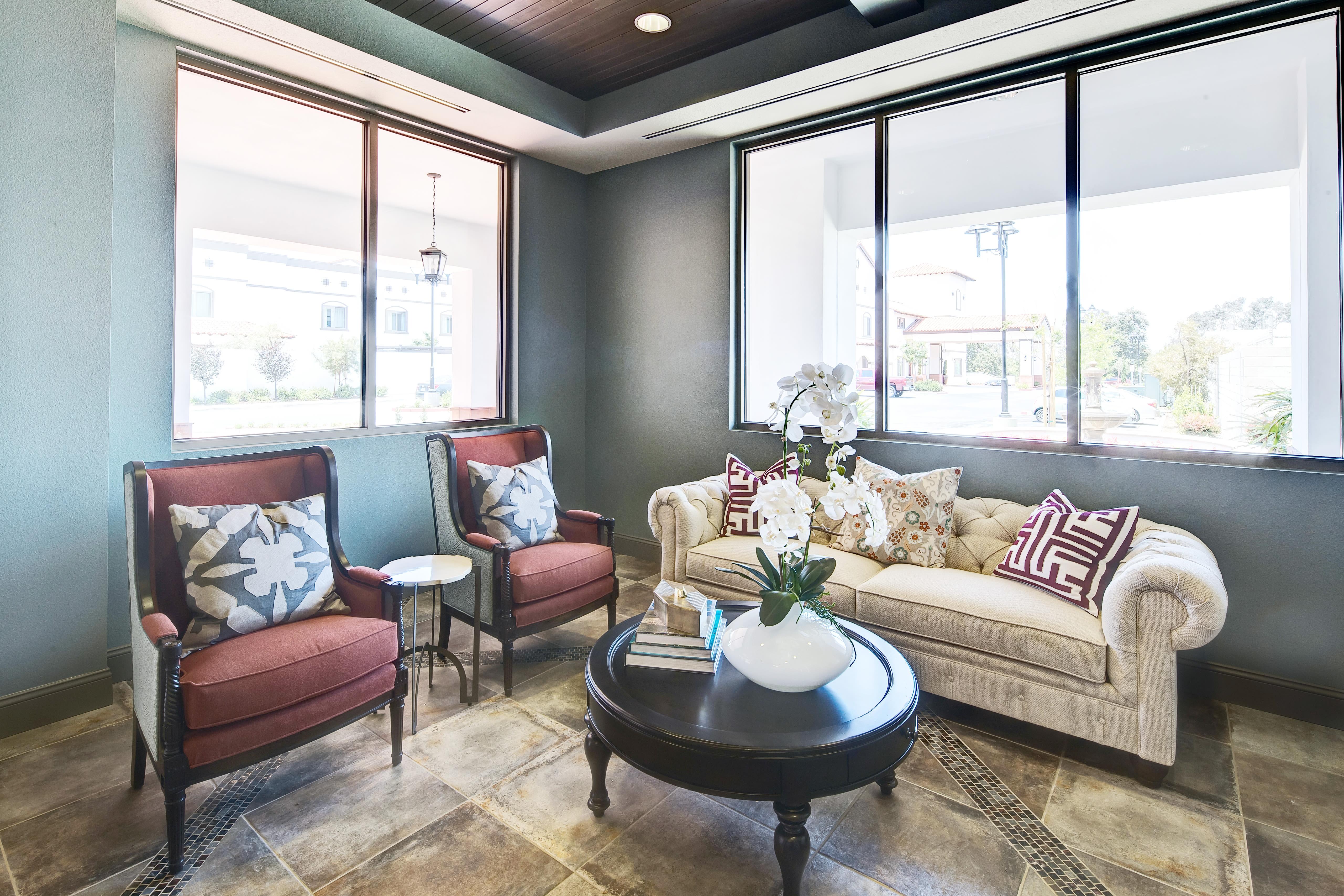 Living space at senior living community in Torrance, California