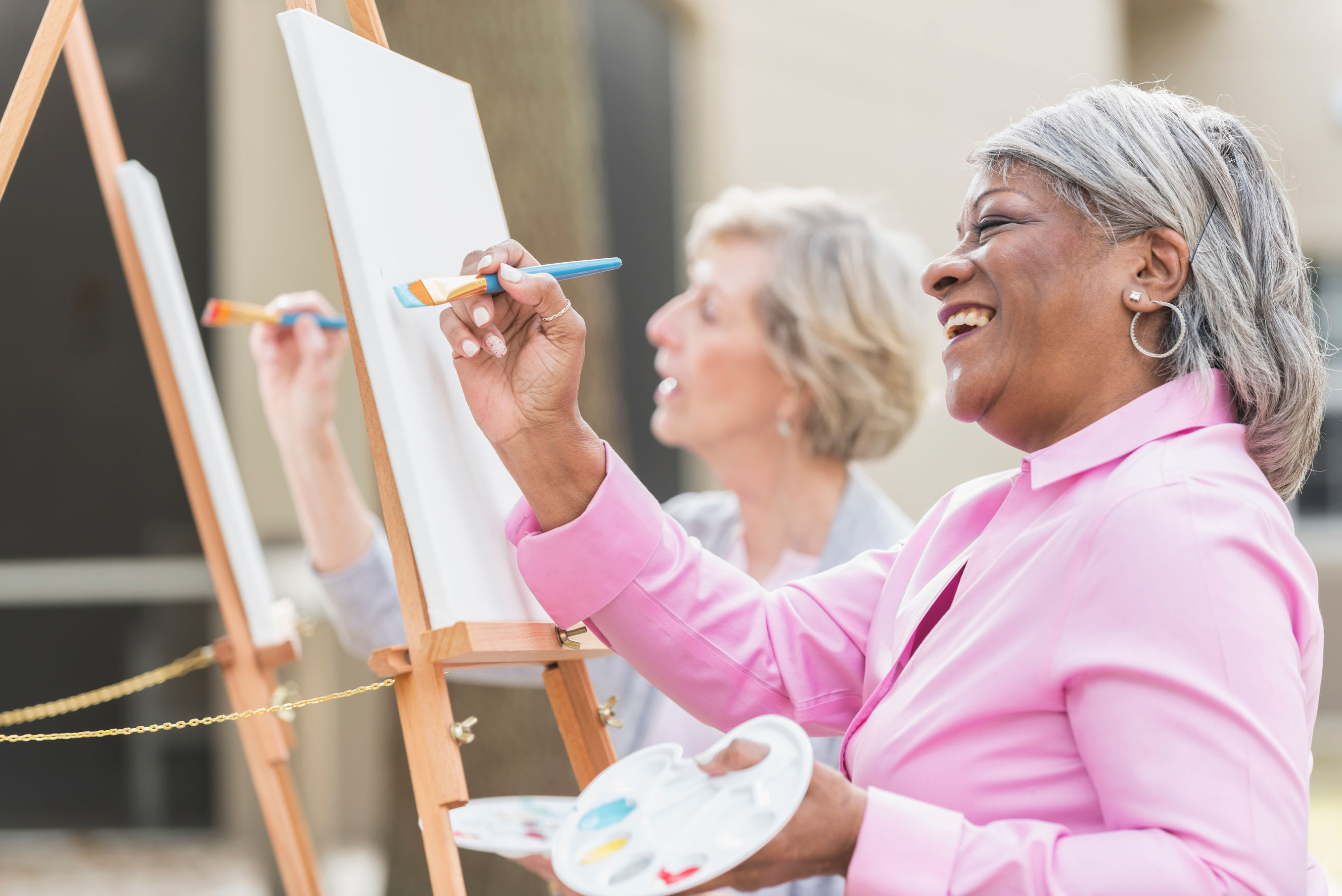 Ladies painting a picture at Clearwater at South Bay in Torrance, California