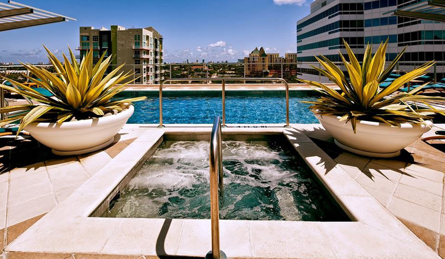 Swimming pool and hot tub at The Exchange Lofts in Fort Lauderdale, Florida