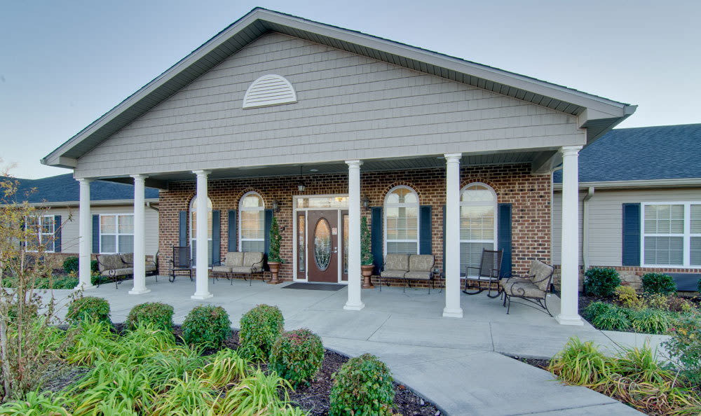 Outdoor patio with chairs at Willow Springs Senior Living in Spring Hill, Tennessee