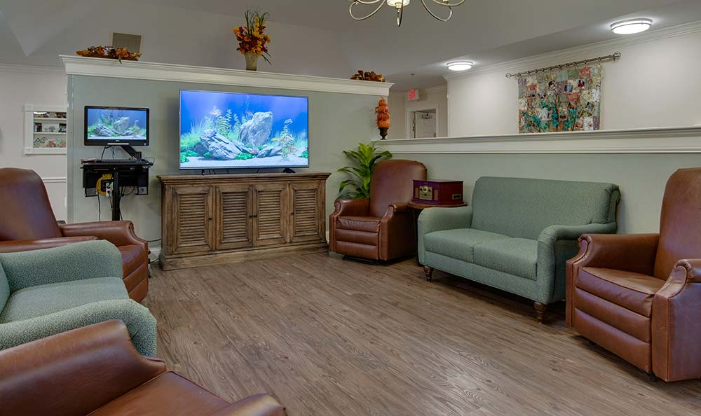 Secondary entertainment room Westport Estates Senior Living community in Marshall, Missouri