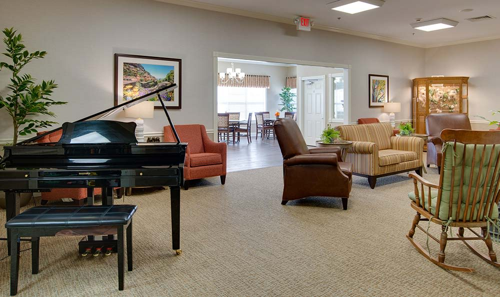 Music corner in the dining hall at Westport Estates Senior Living in Marshall, MO