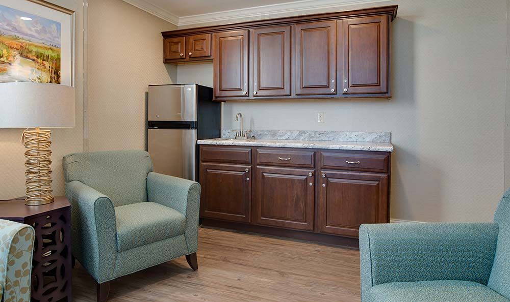 Community kitchen with accessible counters at Westport Estates Senior Living in Marshall, Missouri
