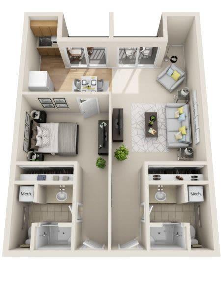 Assisted Living One Bedroom Deluxe at Cottonwood Creek in Salt Lake City, Utah
