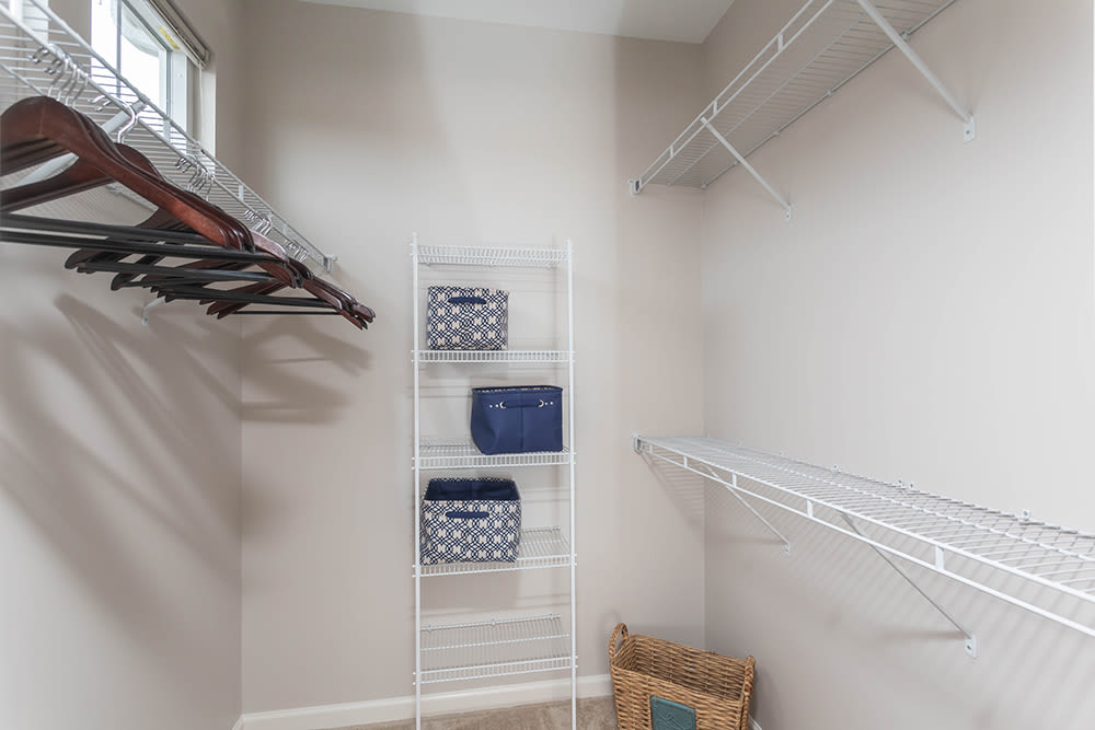 Spacious walk-in closets at apartments in Webster, New York