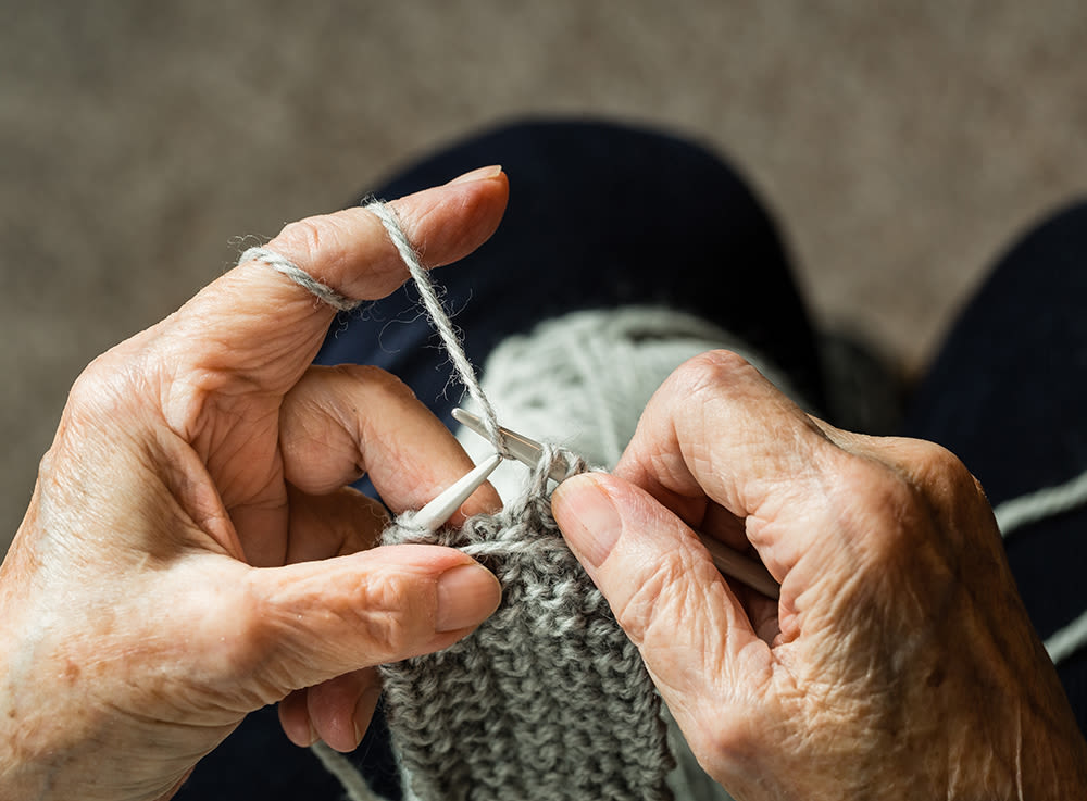 Senior making clothing at McDowell Village in Scottsdale, Arizona