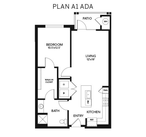 1 Bedroom A1 - ADA: 830 sq. ft. at Avenida Cool Springs senior living apartments in Franklin, Tennessee