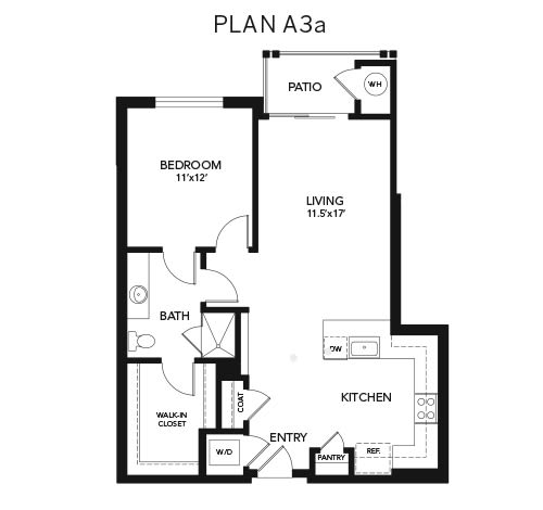 1 Bedroom A3a: 890 sq. ft. at Avenida Cool Springs senior living apartments in Franklin, Tennessee