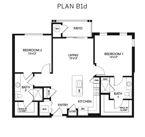 Two bedroom B1d: 1107 sq. ft. at Avenida Cool Springs in Franklin