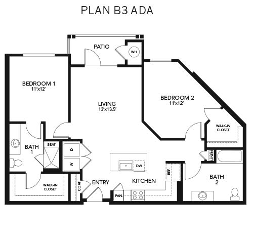 Two bedroom B3 - ADA: 1190 sq. ft. at Avenida Cool Springs in Franklin