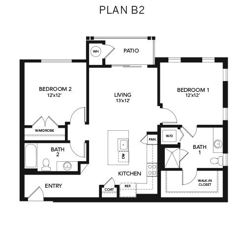 Two bedroom B2: 1100 sq. ft. at Avenida Cool Springs in Franklin