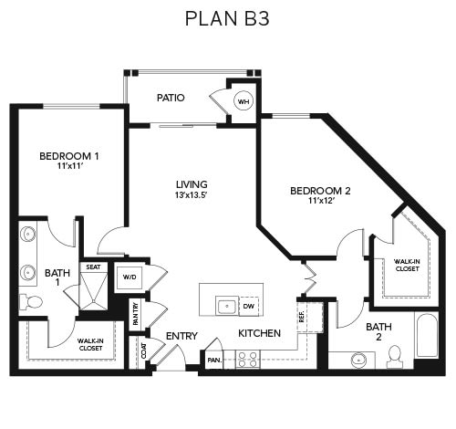 Two bedroom B3: 1190 sq. ft. at Avenida Cool Springs in Franklin