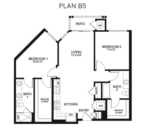 Two bedroom B5: 1125 sq. ft. at Avenida Cool Springs in Franklin