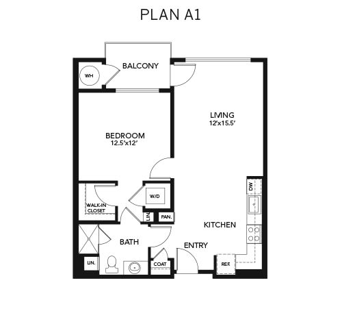 1 bedroom A1: Approx. 796 sq ft. floor plan at Avenida Lakewood senior living apartments in Lakewood, Colorado