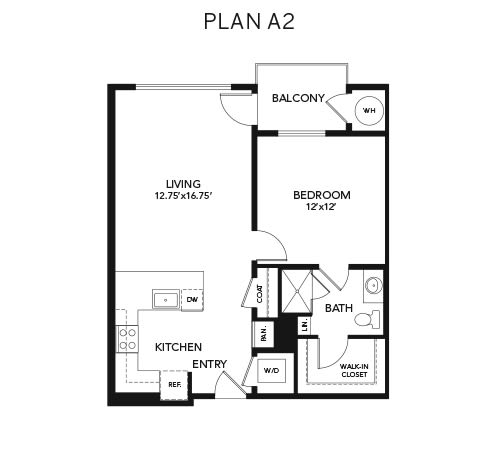 1 bedroom A2: Approx. 798 sq ft at Avenida Lakewood senior living apartments in Lakewood, Colorado