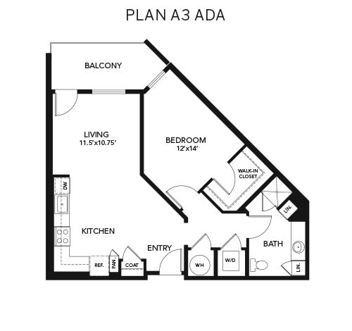1 bedroom A3 - ADA: Approx. 849 sq ft floor plan at Avenida Lakewood senior living apartments in Lakewood, Colorado