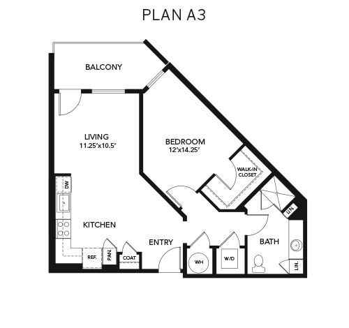 1 bedroom A3: Approx. 849 sq ft at Avenida Lakewood senior living apartments in Lakewood, Colorado