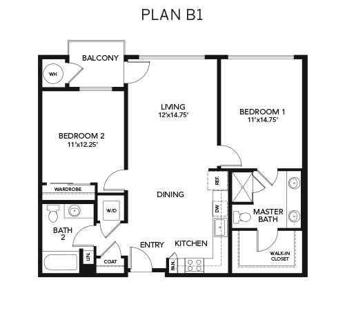 2 bedroom B1: Approx. 1,093 sq ft at Avenida Lakewood senior living apartments in Lakewood, Colorado