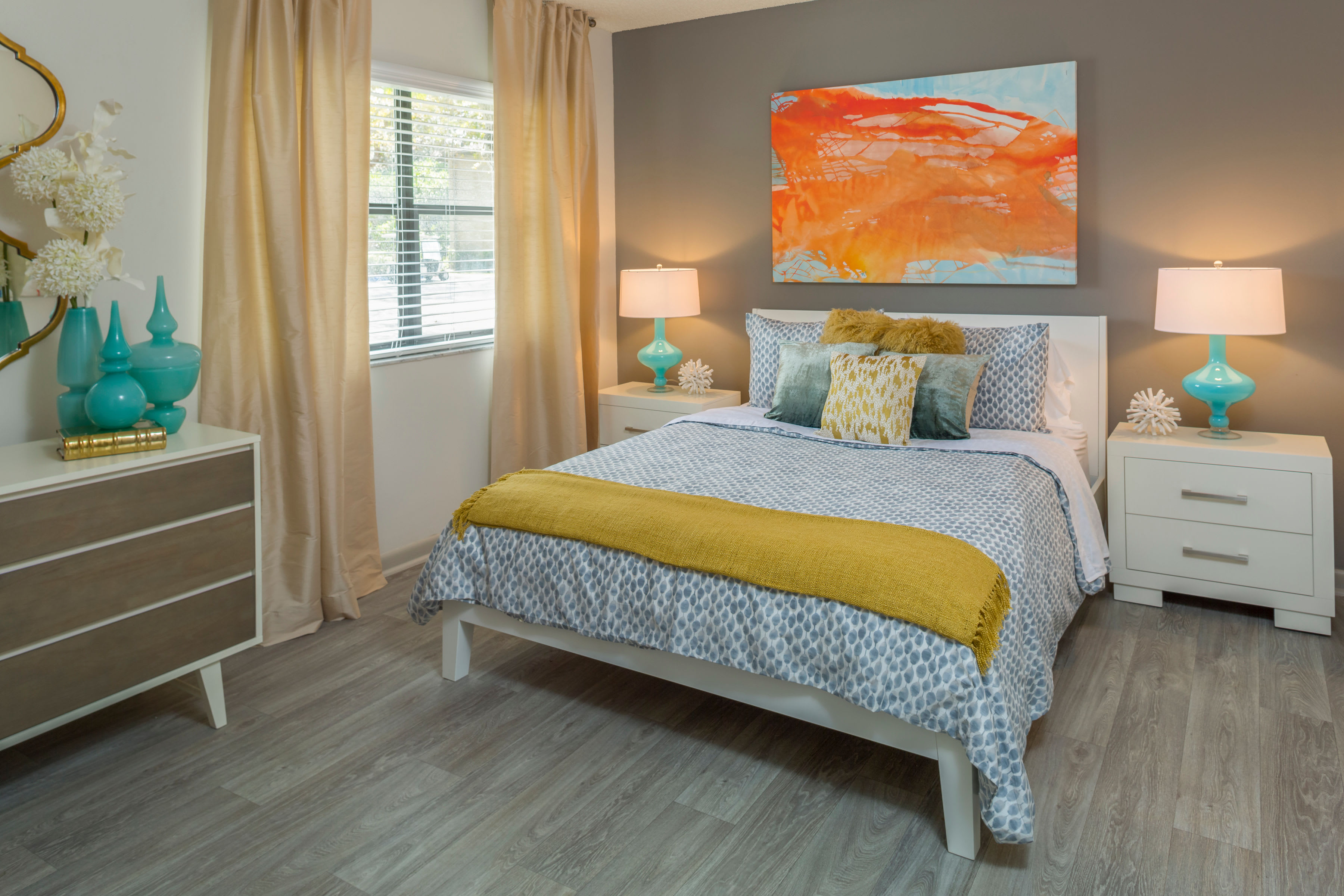 Modern decor in model home's living area at Siena Apartments in Plantation, Florida