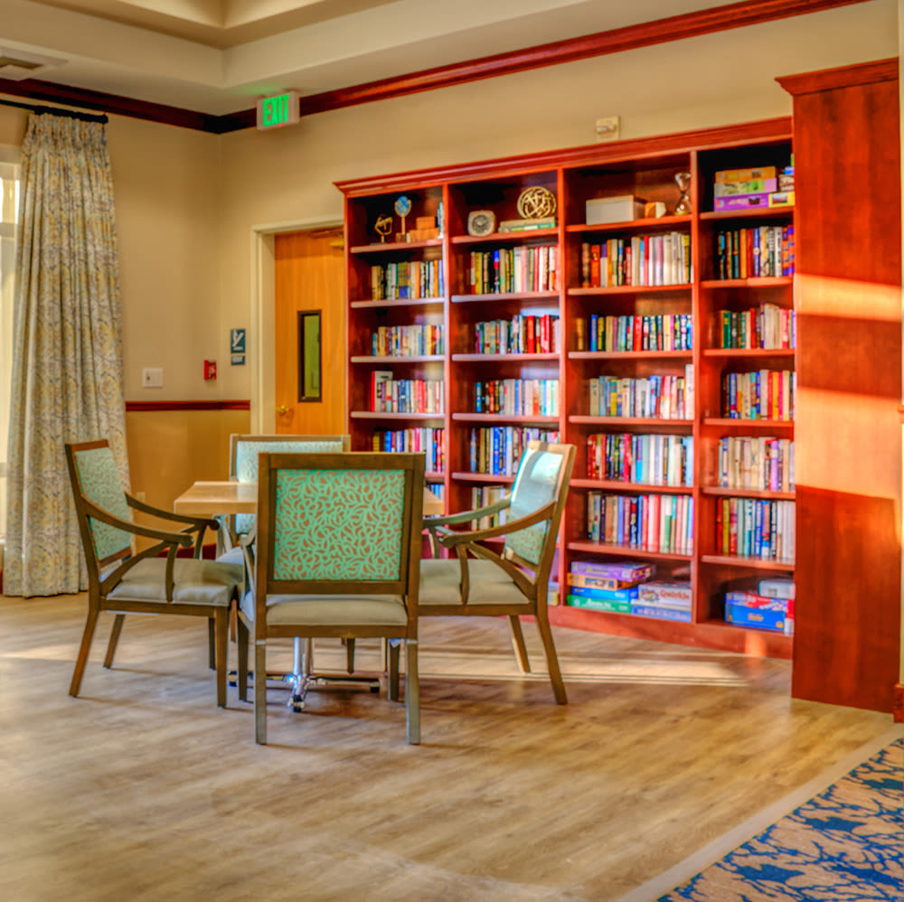 Library and seating area at The Creekside in Woodinville, Washington
