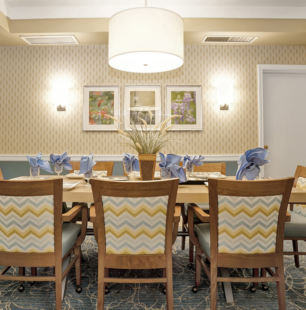 Private dining area available at Island House Assisted Living in Mercer Island, Washington