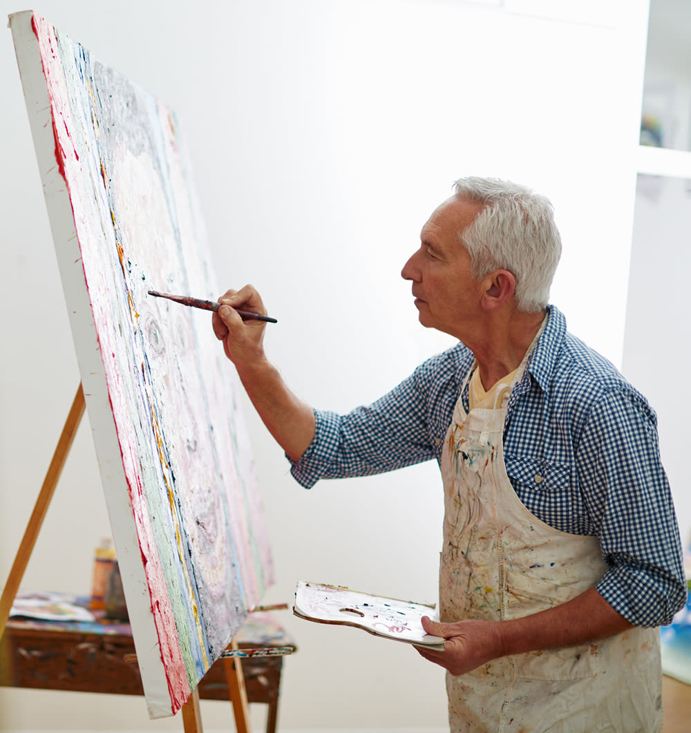 Seniors painting at Mountlake Terrace Plaza in Mountlake Terrace, Washington