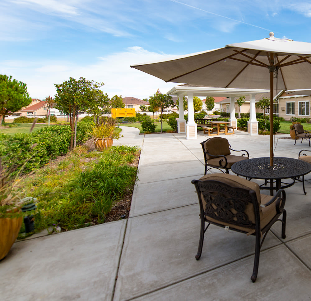 Patio area at The Commons at Dallas Ranch in Antioch, California