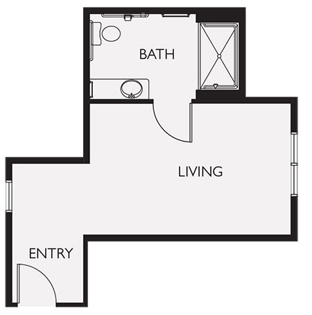 Private Studio with Private Bathroom Layout Two at Seven Lakes Memory Care in Loveland, Colorado