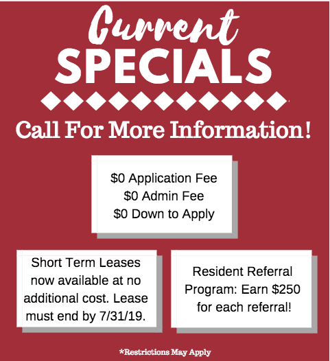 Current Specials at Stadium Suites -- Call for More info!