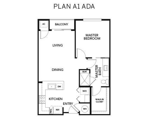 A1 ADA floor plan at Avenida Naperville in Naperville, Illinois