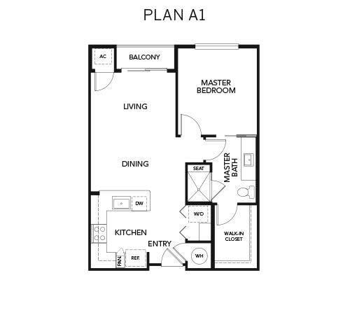 A1 floor plan at Avenida Naperville in Naperville, Illinois