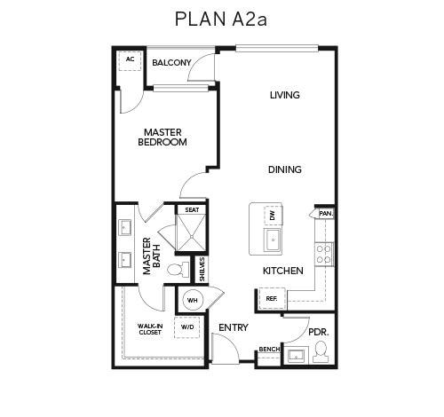 A2a floor plan at Avenida Naperville in Naperville, Illinois