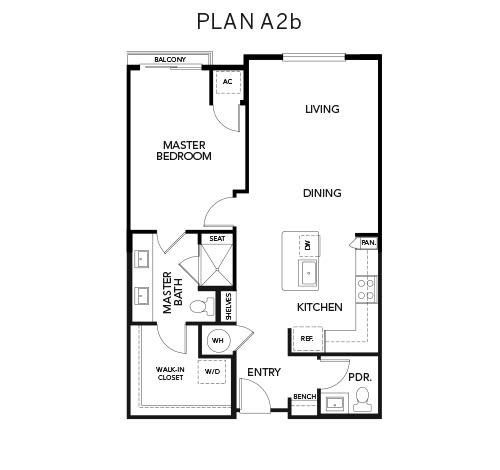 A2b floor plan at Avenida Naperville in Naperville, Illinois