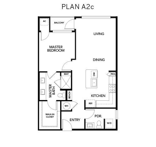 A2c floor plan at Avenida Naperville in Naperville, Illinois